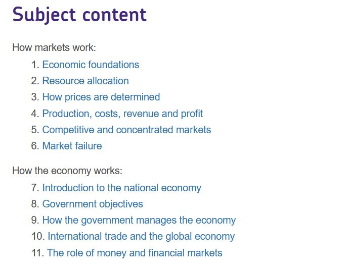 GCSE Economics Online Course Overview