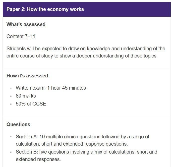 GCSE Economics Paper 1